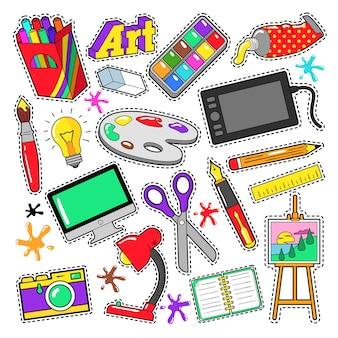 Insignes de créativité artistique, autocollants, patchs avec peintures et outils de conception. doodle vectoriel
