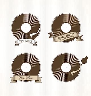 Insignes de disques vinyle rétro