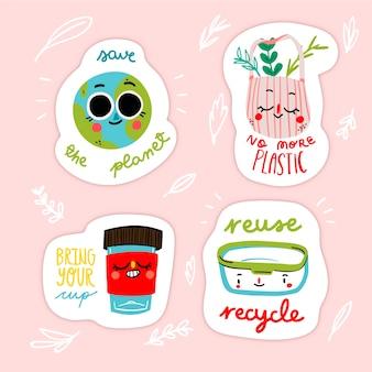 Insignes d'écologie de conception dessinés à la main