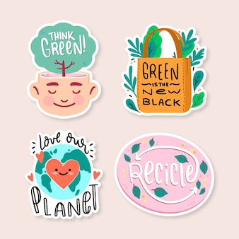 Insignes d'écologie dessinés à la main pour un monde meilleur