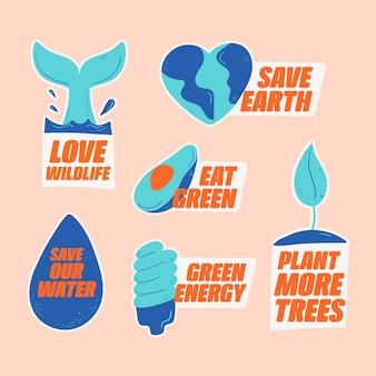 Insignes d'écologie dessinés à la main