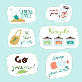 Insignes d'écologie de style dessinés à la main