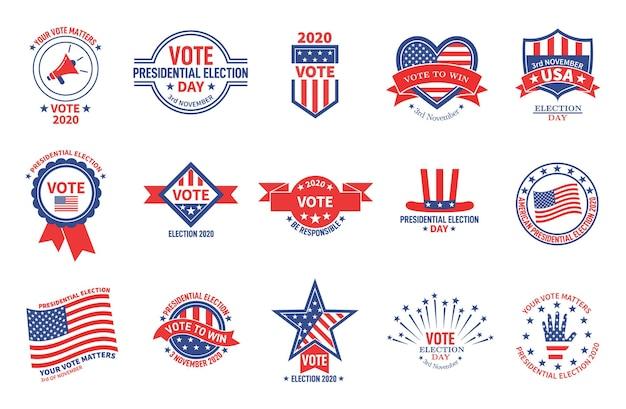 Insignes électoraux. campagne politique, vote de la journée présidentielle des états-unis. autocollants d'électeur patriotique du drapeau américain