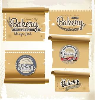 Insignes et étiquettes de boulangerie rétro