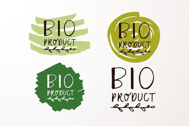 Insignes et étiquettes esquissés à la main avec végétarien végétalien cru eco bio naturel frais gluten eps10