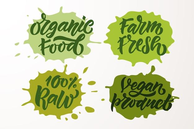 Insignes et étiquettes esquissés à la main avec végétarien végétalien cru eco bio naturel gluten frais eps10