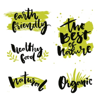 Insignes et étiquettes de produits naturels autocollants avec des mots de calligraphie le meilleur de la nourriture saine de la nature