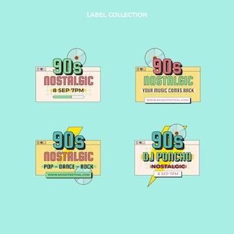 Insignes de festival de musique nostalgique au design plat des années 90