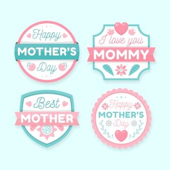 Insignes de fête des mères design plat
