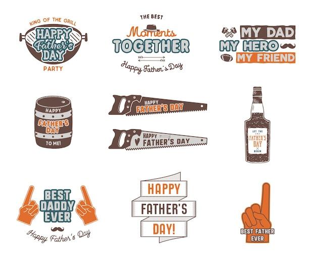 Insignes de fête des pères, collection d'étiquettes. autocollants de vacances pour t-shirts et autres identités. conception de couleur rétro. logos et insignes vintage. vecteur isolé sur fond blanc.