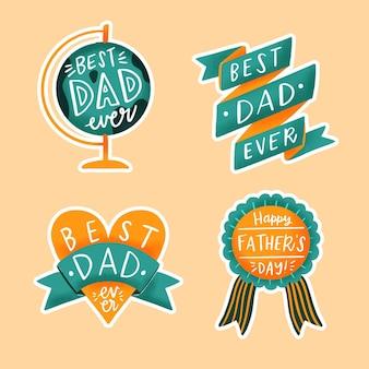 Insignes de fête des pères dessinés à la main