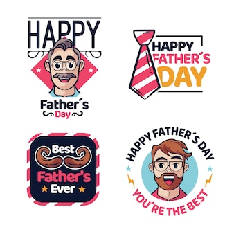 Insignes de fête des pères dessinés