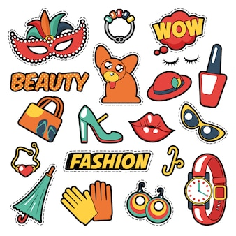 Insignes de filles de mode, patchs, autocollants - bulle de bande dessinée, chien, lèvres et vêtements dans un style bande dessinée pop art. illustration