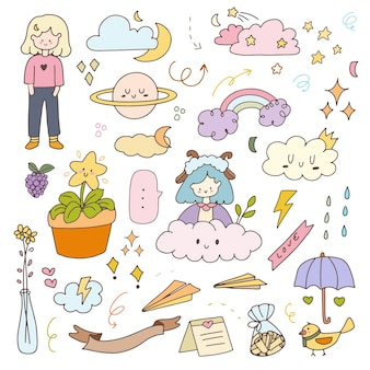 Insignes de griffonnage d'illustration de dessin animé d'autocollant de fille mignonne. ensemble de collection de planificateur d'icônes dessinées à la main.