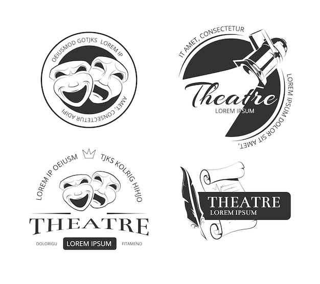 Insignes de logo vintage vector théâtre étiquettes et logo