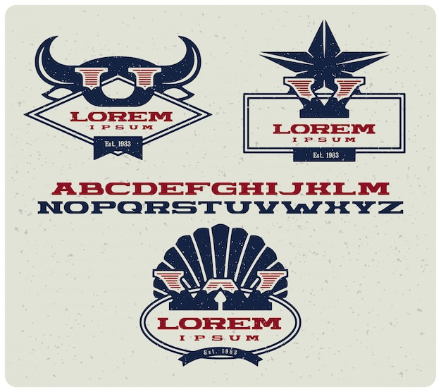 Insignes de logotype avec majuscules