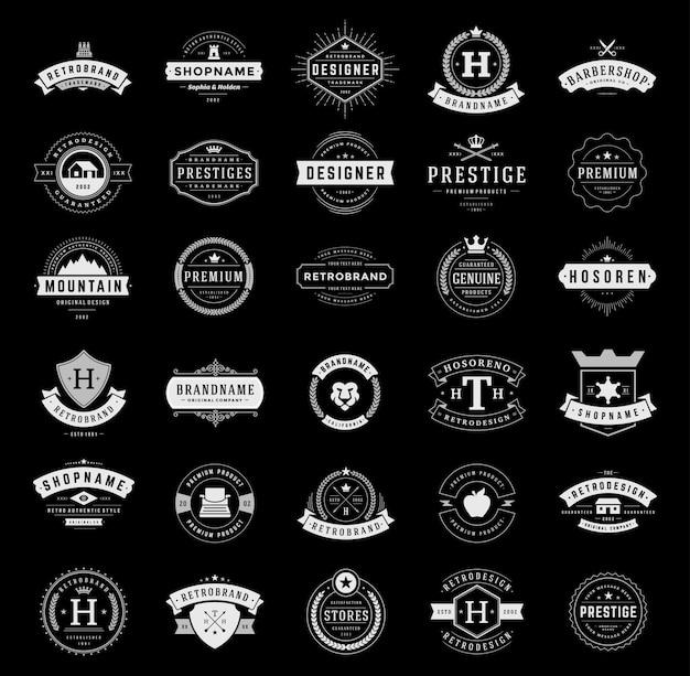 Insignes et logotypes vintage rétro mis en vecteur d'éléments de conception typopgraphique