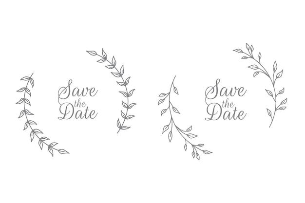 Insignes de mariage floral dessinés à la main et couronne florale