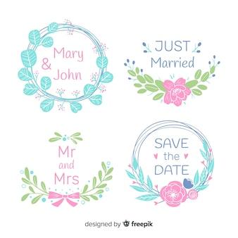 Insignes de mariage floral dessinés à la main