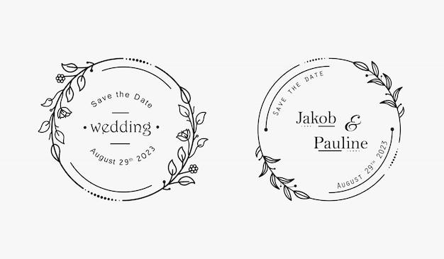 Insignes de mariage floral minimal dessinés à la main