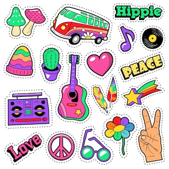 Insignes de mode hippie, patchs, autocollants - guitare van mushroom et plume dans un style comique pop art. illustration