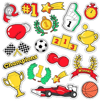 Insignes de mode, patchs, autocollants dans le thème des champions de style bande dessinée avec des coupes, des médailles et des équipements sportifs. fond rétro