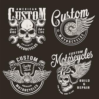 Insignes de moto personnalisés monochromes vintage