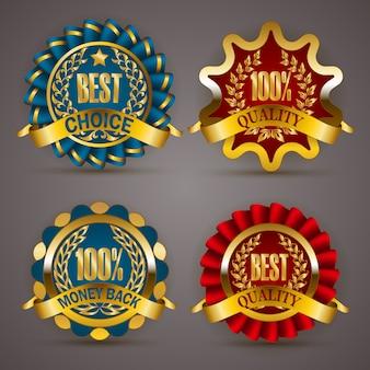 Insignes d'or avec la couronne de laurier