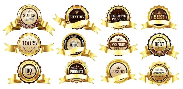 Insignes d'or de luxe avec des rubans