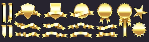 Insignes d'or avec des rubans