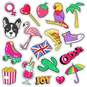 Insignes, patchs, autocollants pour filles à la mode - oiseau flamant rose, perroquet pizza et coeur dans un style comique. illustration