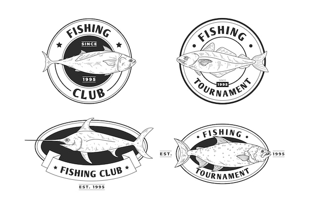 Insignes de pêche vintage détaillés