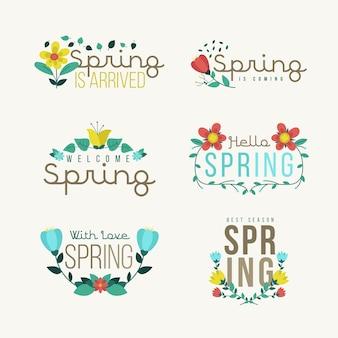 Insignes de printemps mignons au design plat