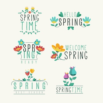 Insignes de printemps mignons avec des fleurs