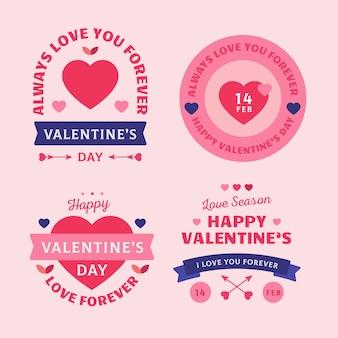Insignes de la saint-valentin design plat
