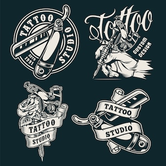 Insignes de salon de tatouage monochrome vintage