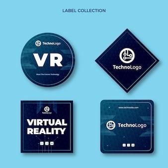 Insignes De Technologie De Texture Dégradée Vecteur gratuit