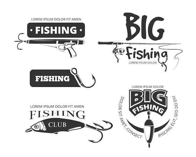 Insignes de vecteur de club de pêche rétro