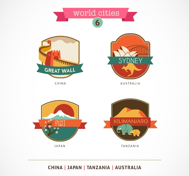 Insignes des villes du monde - sydney, grande muraille, fuji, kilimandjaro