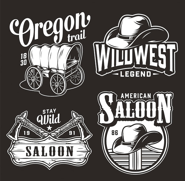 Insignes vintage de far west monochrome
