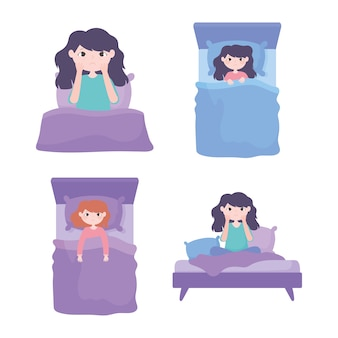 Insomnie, personnage différent au lit illustration vectorielle de dessin animé sans sommeil