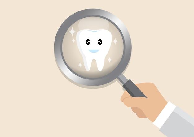 Inspection des dents avec loupe.