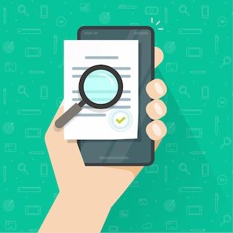 Inspection de documents numériques de conformité en ligne mobile