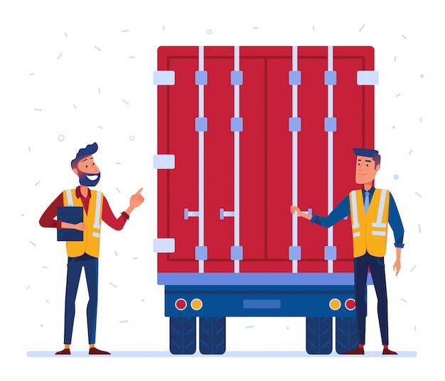 Inspection des douanes et des camions à la frontière