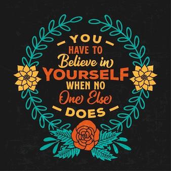 Inspiration - citations de motivation typographiques avec des éléments floraux