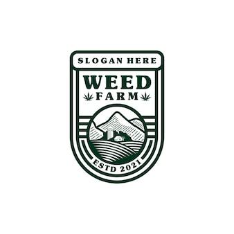 Inspiration de conception de bouclier de logo de ferme de marijuana