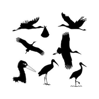 Inspiration de conception de décor de silhouette de cigogne