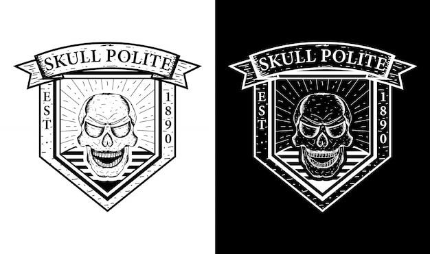 Inspiration de conception d'emblème rétro vintage de crâne