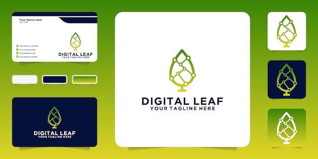 Inspiration de conception, feuille numérique de technologie et cartes de visite
