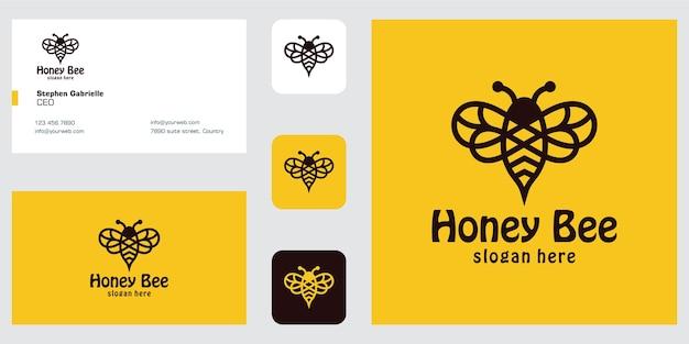 Inspiration de conception de logo d'abeille d'art de ligne et carte de visite